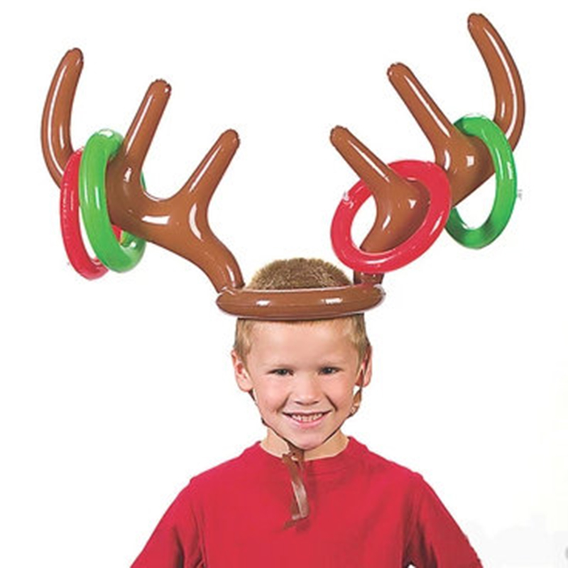 2017 Inflatable Reindeer Antler Hat Christmas Party Game Rings Caps ...