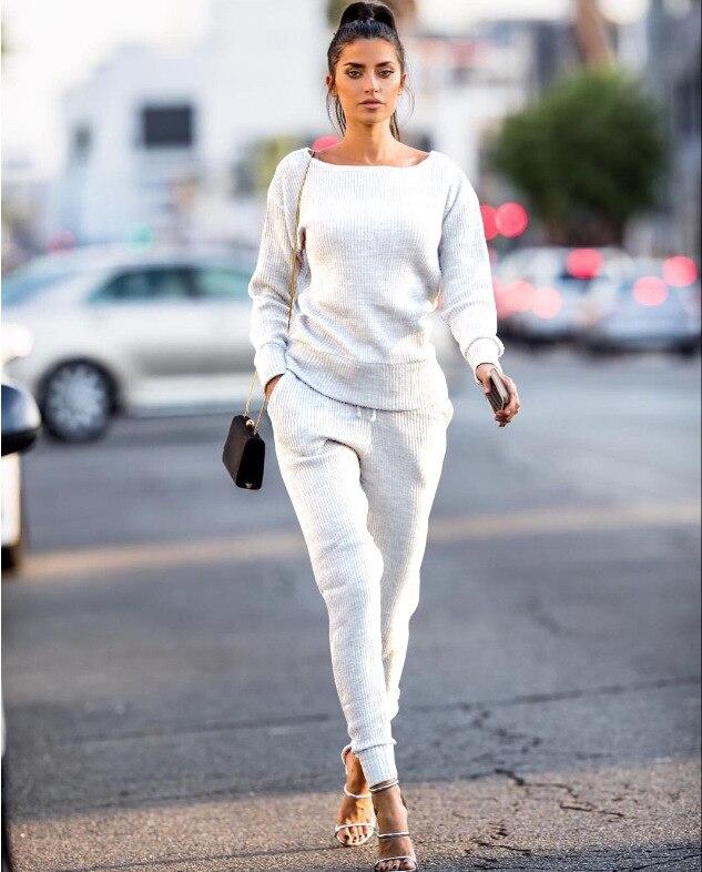 נשים סרוג ארוך שרוול סוודר מכנסיים 2 piece סט עבור נקבה נשים 2018 סתיו חדש o-צוואר slim שתי חתיכה להגדיר נשים של חליפות
