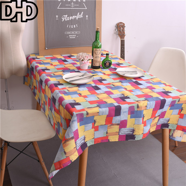 Colorful Tablecloth Rectangular Dinner Table Cloth Cotton Linen Table Cover  For Home Decoration Multi Functional Tea