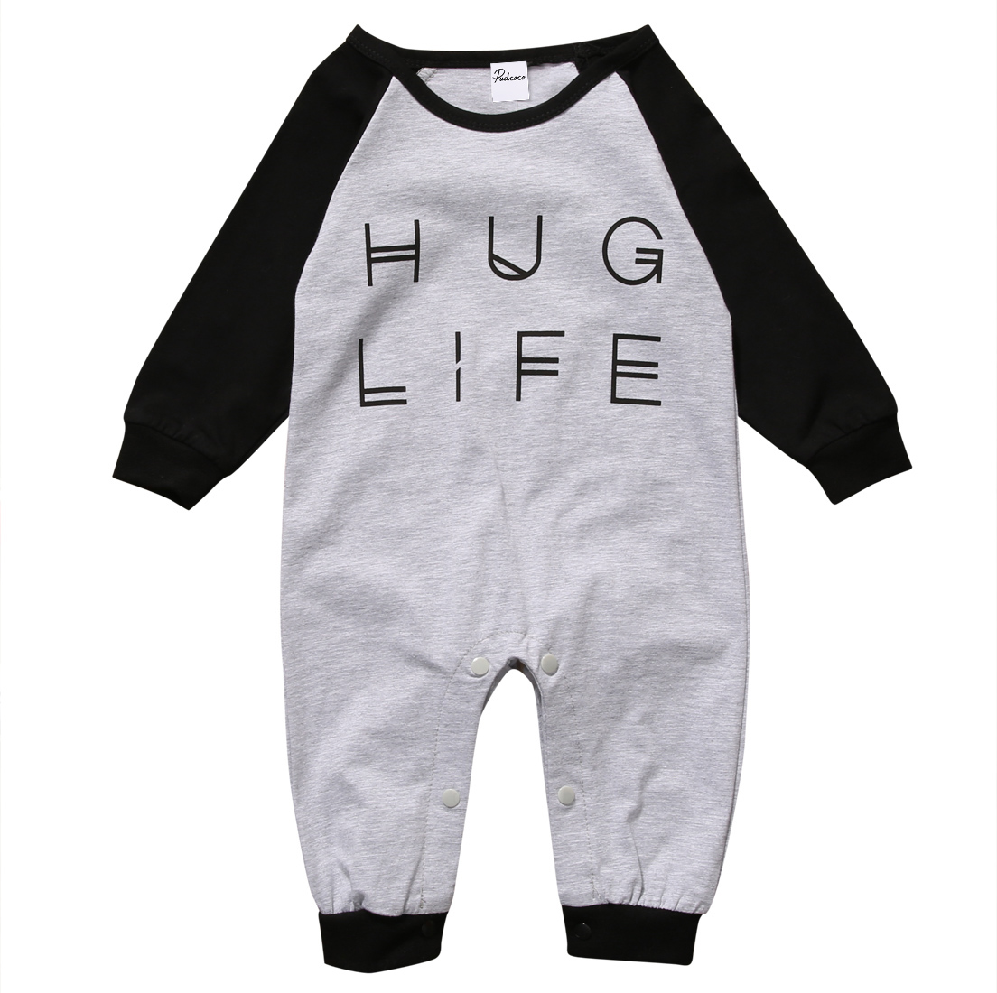 Hug Life Print Long sleeve Jumpsuit   Rompers   For Baby Boy