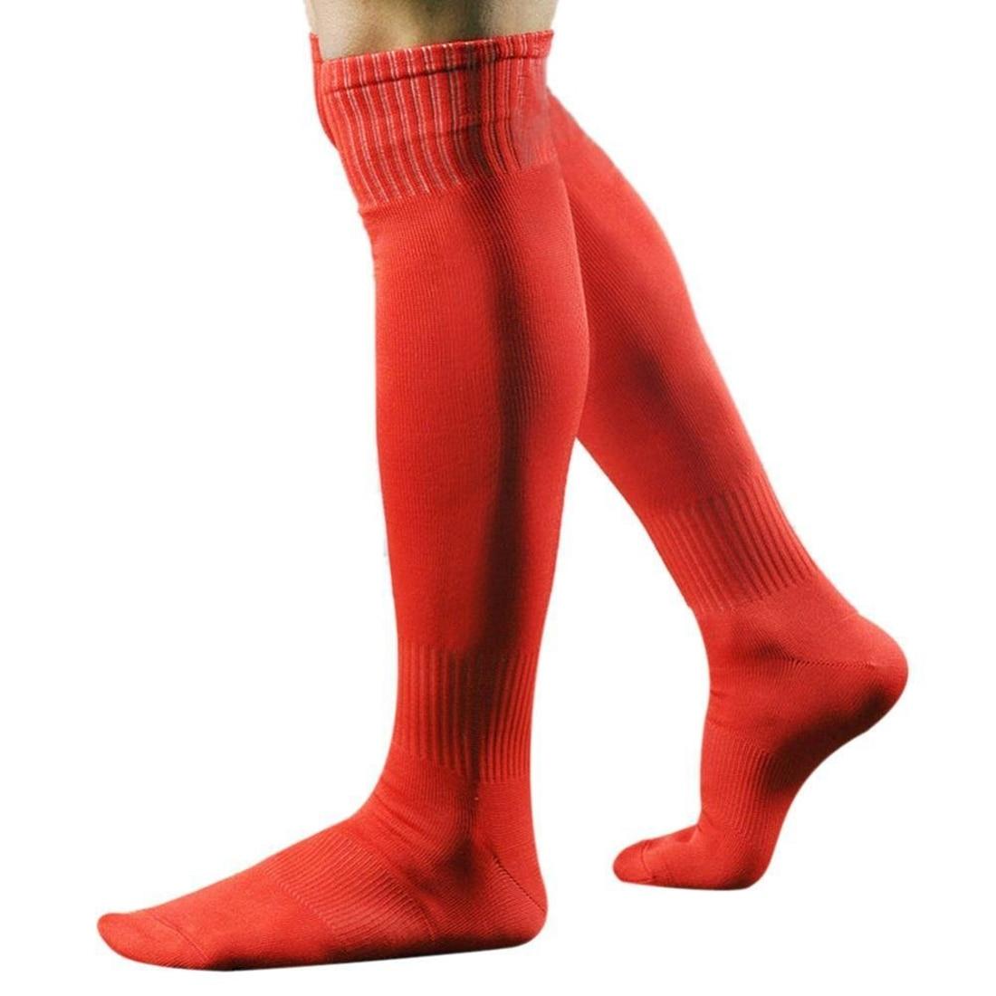 Men's Sports Baseball Hockey Soccer Socks Long High Sock (red)