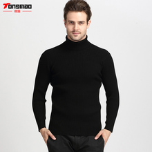Winter Thick Warm Cashmere Sweater Men Turtleneck Long Sleeve Men Sweater Casual Wool Knitted Turn-down Collar Slim Men Pullover