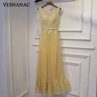 VENSANAC 2017 New A Line Embroidery O Neck Long Evening Dresses Sleeveless Elegant Flowers Tank Lace Appliques Party Prom Gowns