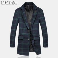 Men's Plaid Long Style Slim Fit Blends Coat Male Winter Big Size 5XL Deer Decoration Casual Overcoat For Men Blazer Collar K104