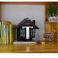 Fashion Wooden House Auto Flip Table Clock Vintage Desk Clock Alarm Clock Retro Classic Watch Modern Home Table Decor Black