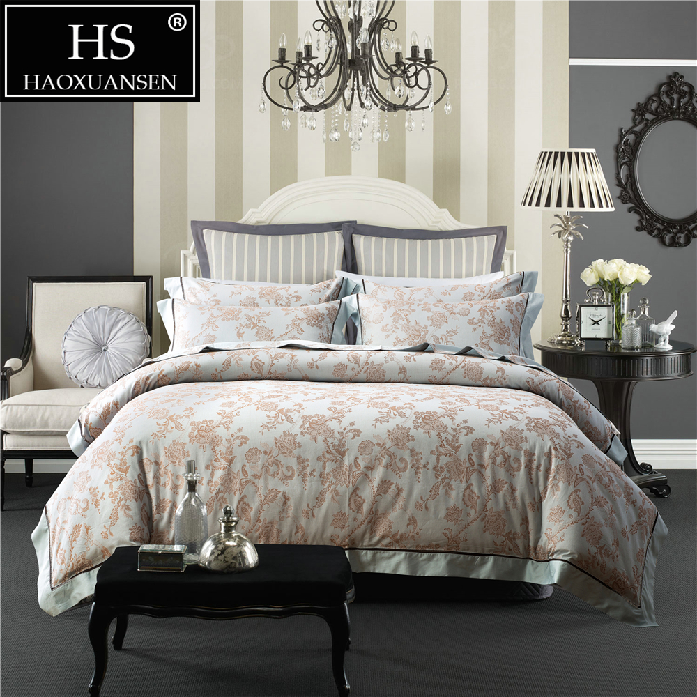 100 Percent Cotton Bedding Set Yarn Dyed Jacquard 4 Piece Bedding Duvet Cover Set Chrysanthemum Blue Taupe Queen King Size 400TC