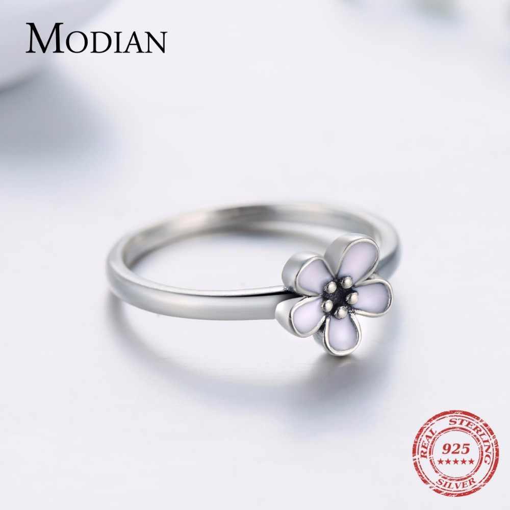 Modian คุณภาพสูง Elegant สีชมพูแหวนแฟชั่นเดิม 100% เงิน 925 เครื่องประดับสำหรับผู้หญิงงานแต่งงานของขวัญ