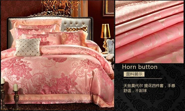 Aliexpress com Buy Luxury gold pink lace satin bedding set jacquard floral  king queen size quilt. Pink And Gold Bedroom Set