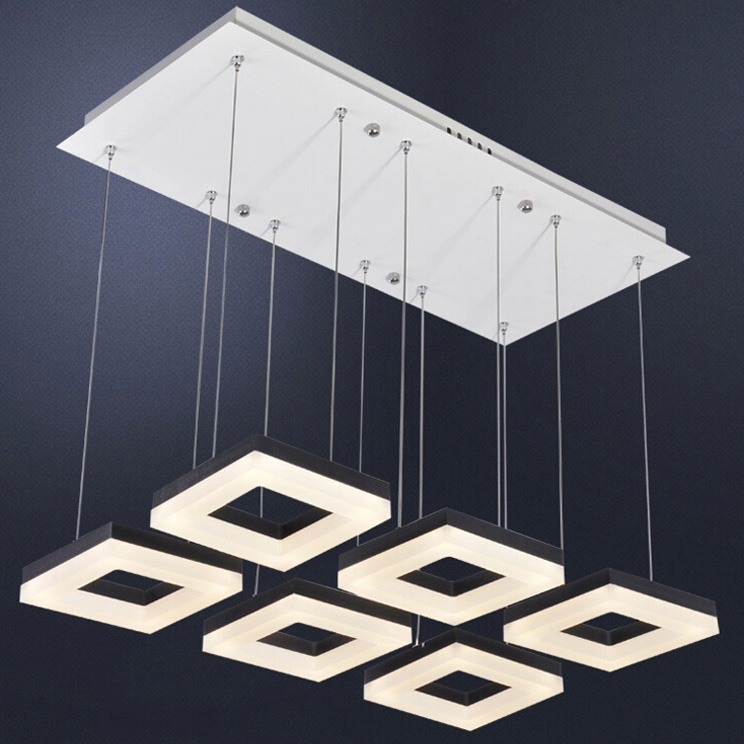 Box square rectangle LED pendant lights creative restaurant bedroom study rectangular lamp 3/4/5/6/9/12 heads lamps ZA