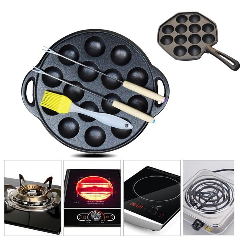 Non stick Takoyaki Maker Cast Iron Baking Pan Cake Octopus ...