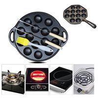Non stick Takoyaki Maker Cast Iron Baking Pan Cake Octopus Ball Pan Barbecue Plate For Gas Stove Induction Cooker