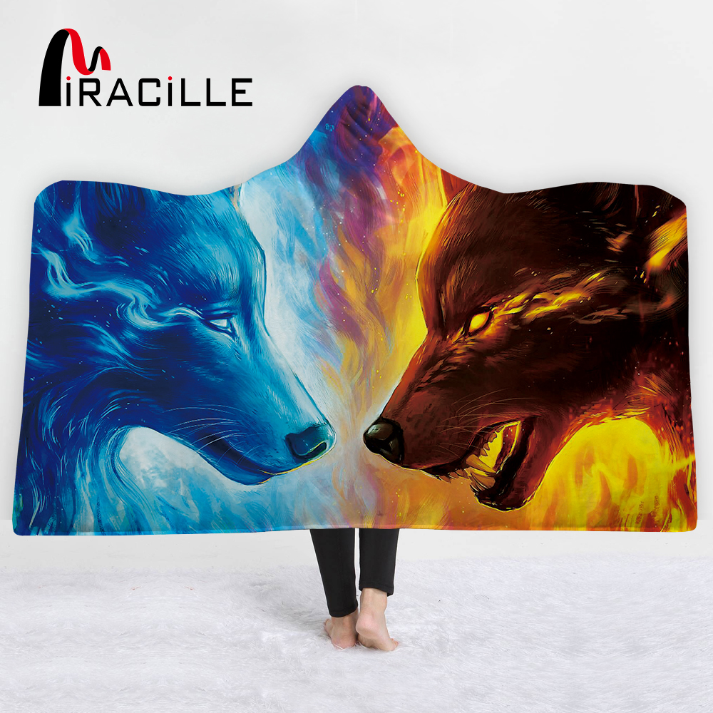 Miracille 3D Animal Hooded Blanket Velvet Plush Bedclothes Tiger Wolf Tribal Animal Throw Blanket Watercolor Hippie on Sofa Bed