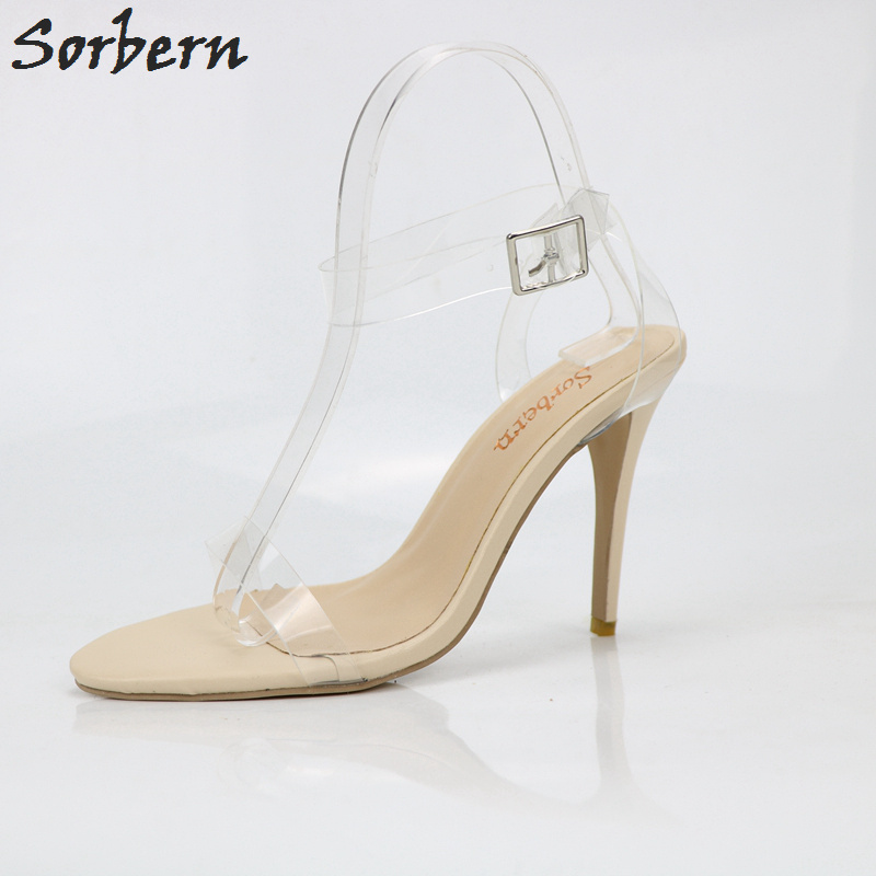 Sorbern Clear Transparent Pvc Women Sandal High Heels Stilettos Summer Shoes Kim Kardashian Evening Party Shoes Custom Colors romyed bridals wedding shoes kim kardashian pumps superstar shoes top quality flowers evening christian shoes size 4 16 shofoo