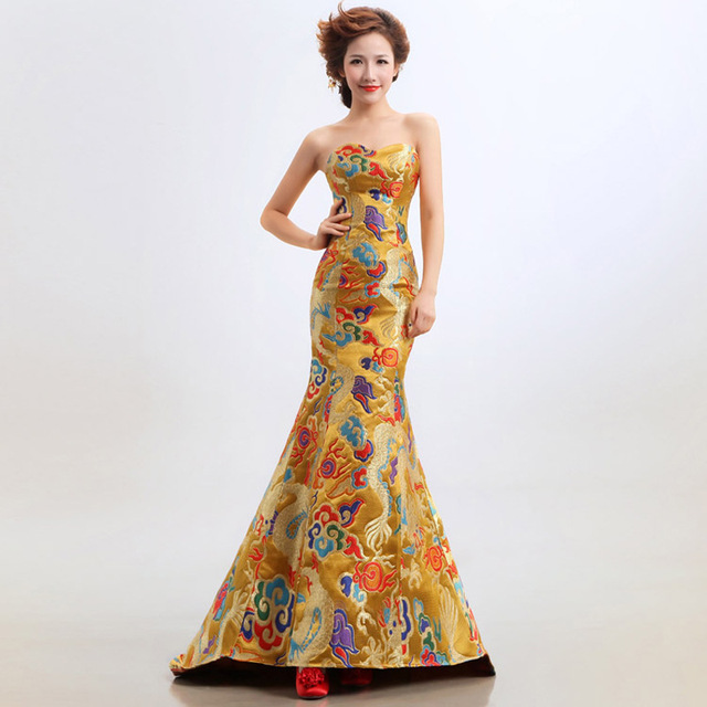 e49dffe74afec 2017 Luxury Yellow Dragon Embroidery Evening Gowns Pregnant Women Cheongsam  Long Qipao Chinese Traditional Wedding Dress-in Cheongsams from Novelty &  ...