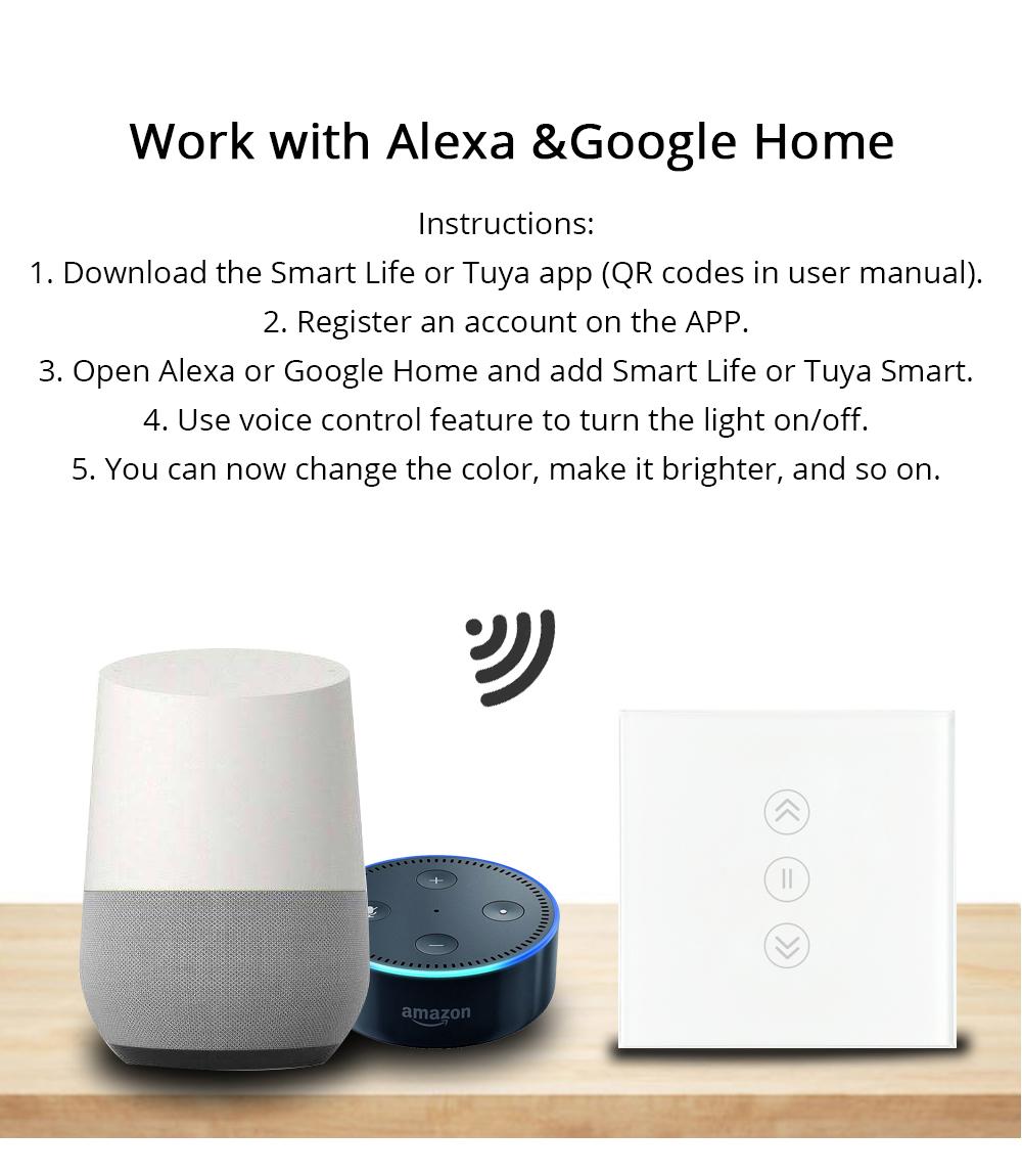 EU Tuya Smart Curtain Switch Alexa Google Home Assistant