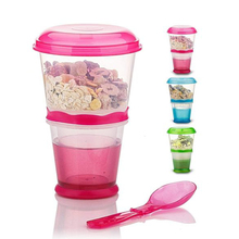 Creative Breakfast Cup Oatmeal Cup Cereal PP Snack Cup With Lid Fold able Spoon Food Container Keep Milk Cold Free Shipping