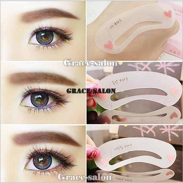 3 Styles Eyebrow Stencil Grooming Shaping Card Template Makeup Mini