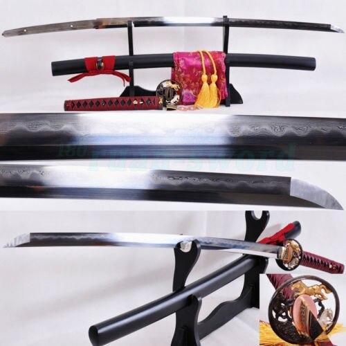Clay Tempered Qatlanmış Polad Bıçaq Atı Tsuba Yapon Samurai - Ev dekoru - Fotoqrafiya 1