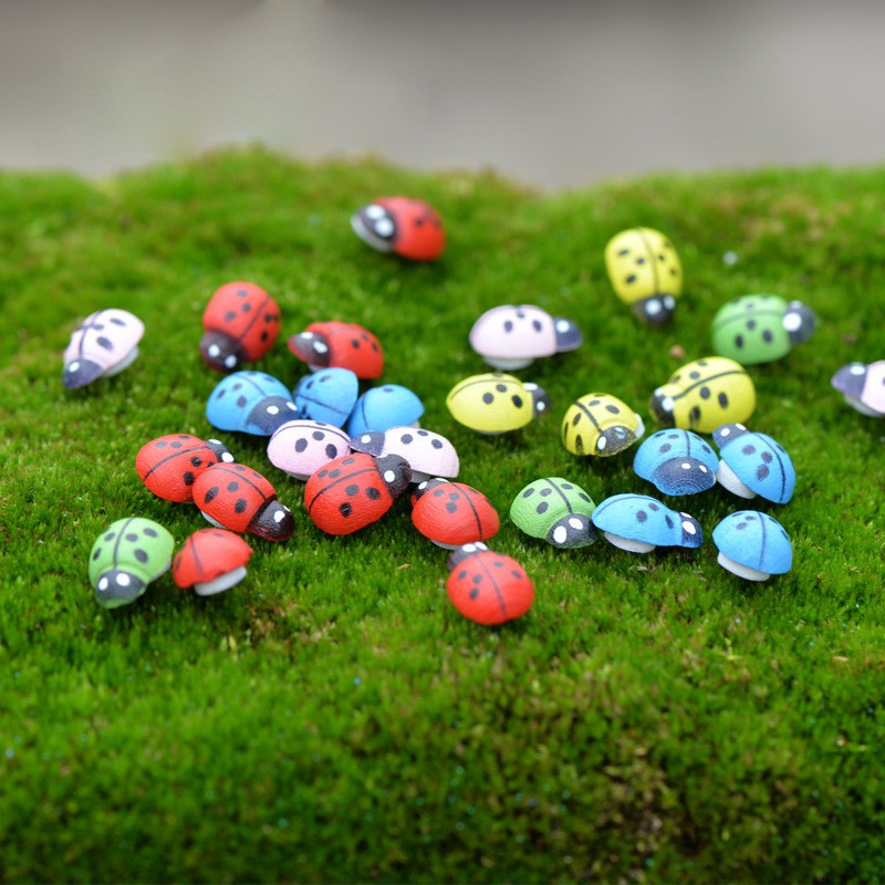 100pcs/pack Mini Wooden Ladybug Sponge Self-adhesive Stickers Micro Landscape Decor Mini Fridge Magnets For Scrapbooking