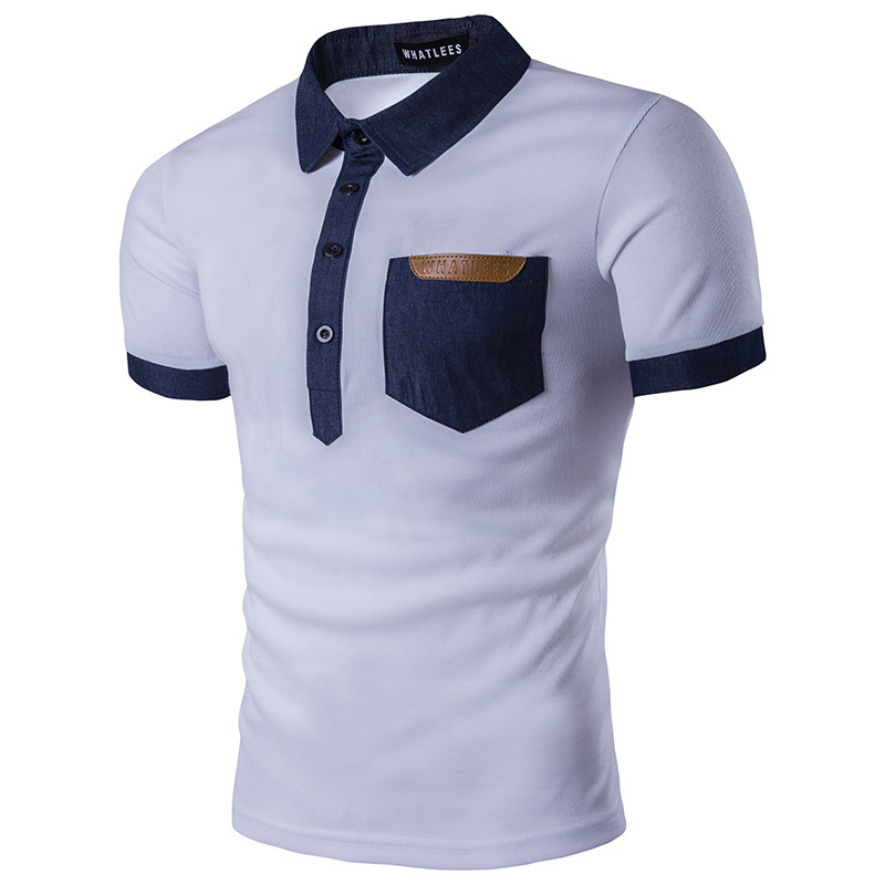 ief.G.S Mens summer new denim stitching business leisure lapel short sleeve daily vacati ...