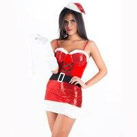 חום נצנצים לרחוש מיס סנטה תלבושות סקסיות חג המולד סנטה קלאוס תחפושת איכות גבוהה חג מתנת חג המולד לנשים W514014