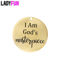 Ladyfun Customizable Stainless Steel Charm Jesus Christ Pendant I am Gods Masterpiece Charms for jewelry making