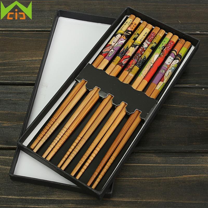 WCIC 10 stks Chinese Bamboe Eetstokje Handgemaakte Japan Chop Sticks Sushi Eten Stok met Geschenkdozen Servies baguette chinoise