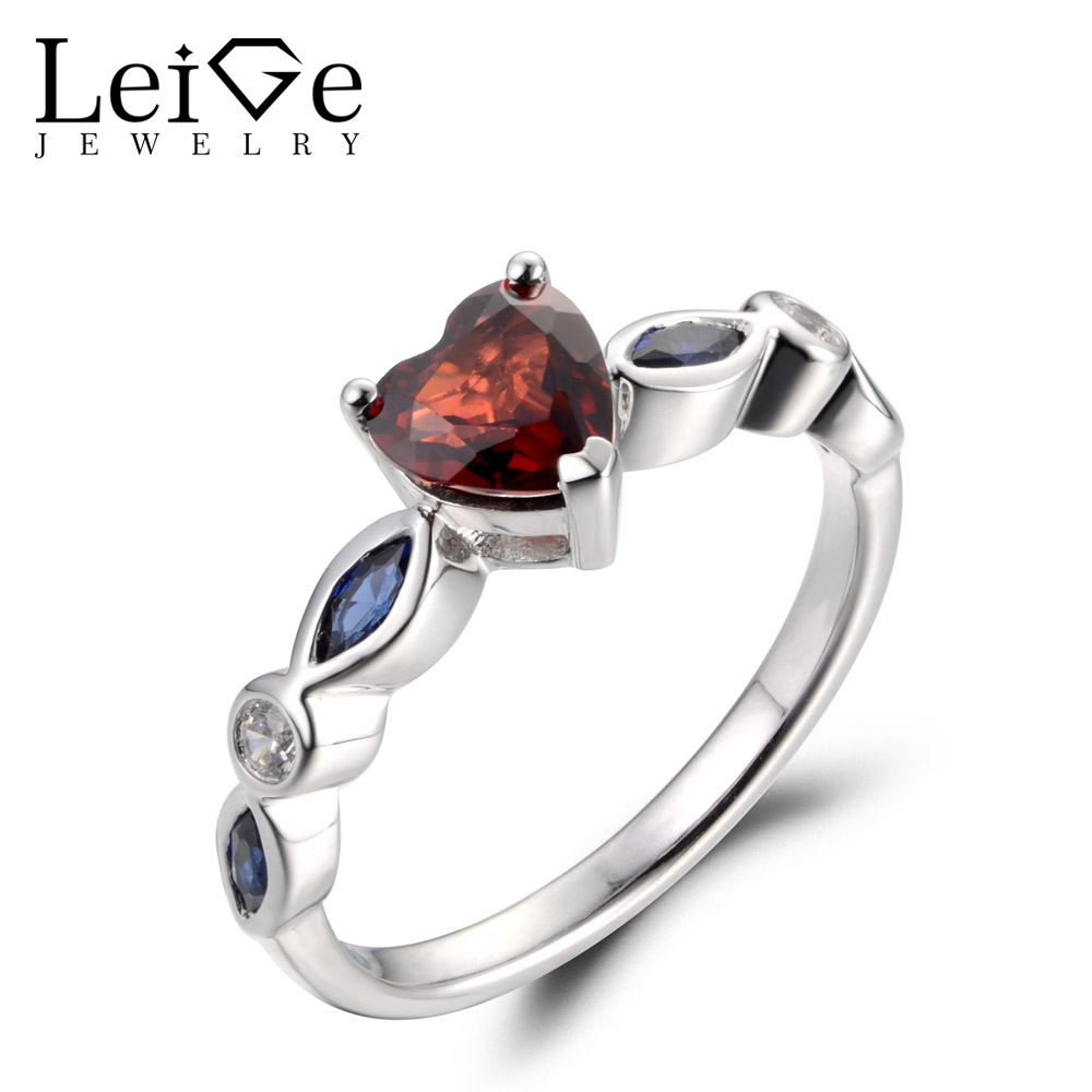 Leige Jewelry Real Natural Garnet Ring Engagement Ring January Birthstone Heart Cut Red Gemstone Solid 925 Sterling Silver Gifts