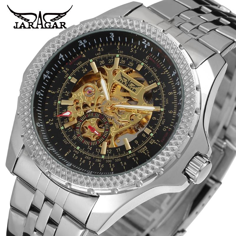 Prix pour Jaragar marque hommes de luxe montre montres squelette creux automatique mécanique en acier inoxydable montre-bracelet cadeau boîte relogio releges