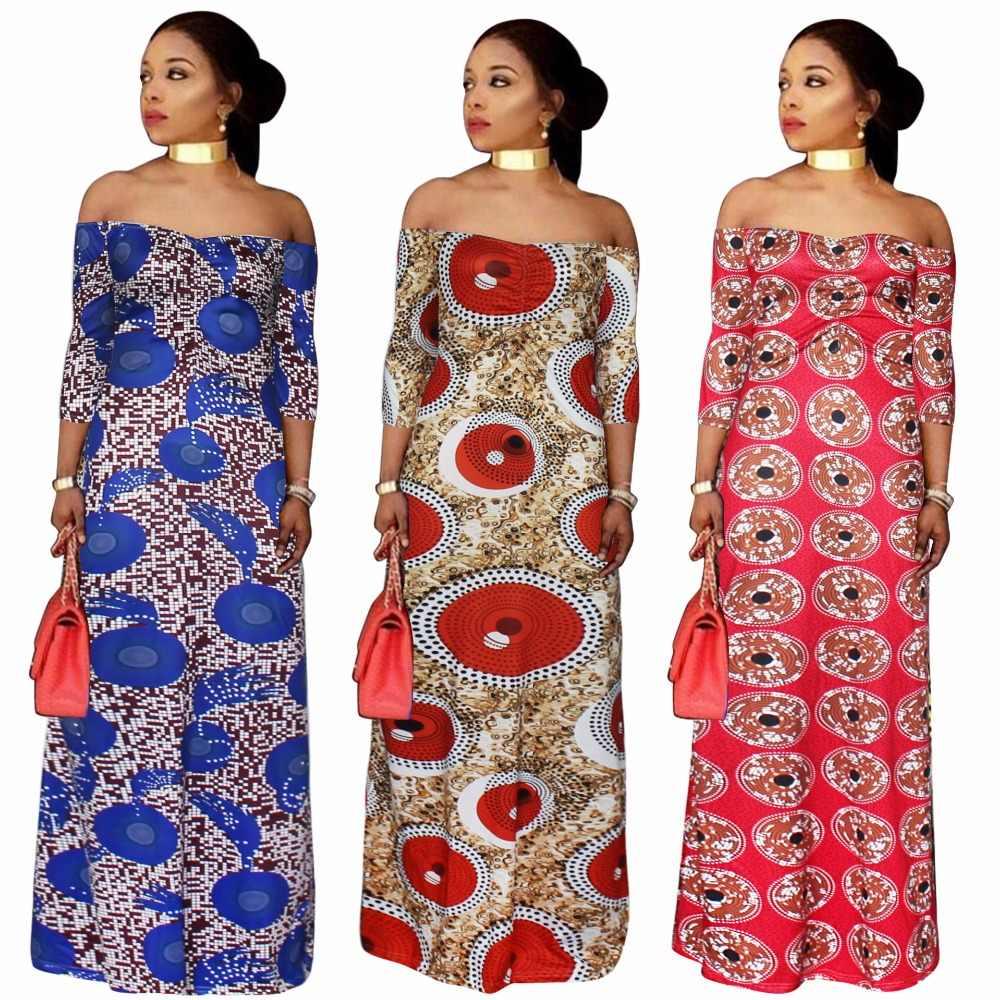 2019 NewL-5XL África impressão das Mulheres plus size vestidos Africanos vetsidos Africaine fora do ombro vestidos longos maxi verão dre