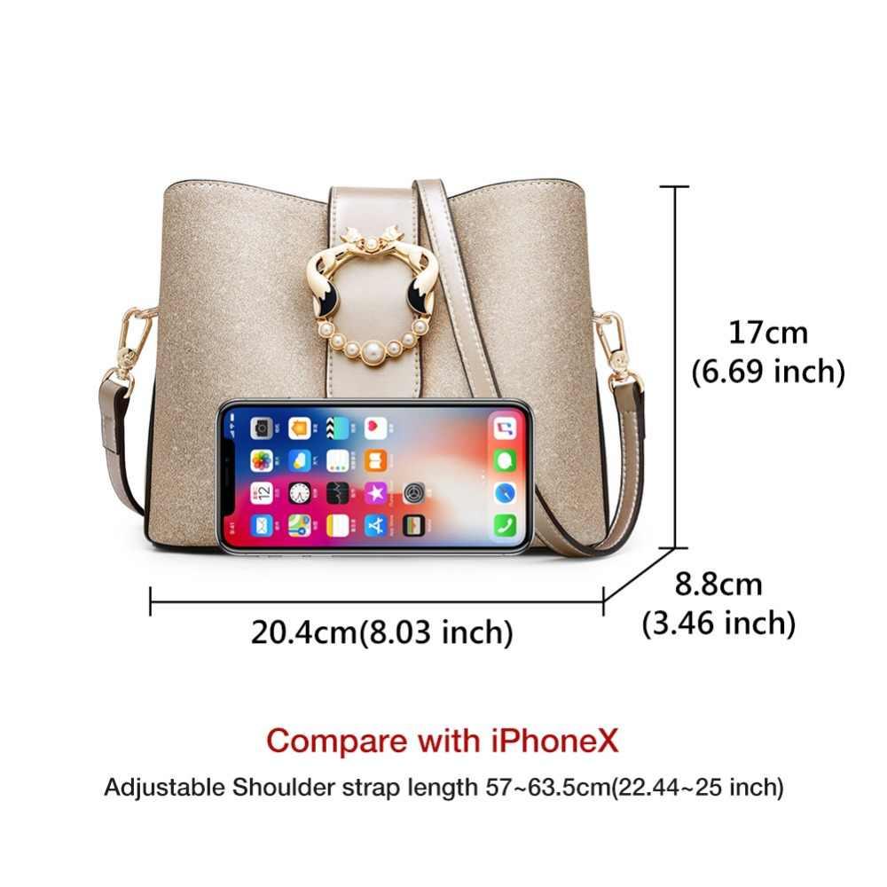 Foxer 브랜드 여성 대용량 세련 된 어깨 가방 지갑 새로운 세련 된 여성 양동이 가방 광택 패션 숙 녀 메신저 가방