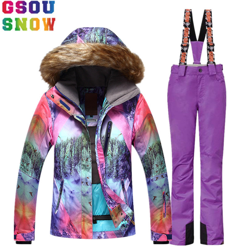 GSOU SNOW Brand Ski Suit Women Ski Jacket Pants Waterproof Mountain Skiing Suit Snowboard Sets Winter Outdoor Sports Clothing gsou snow brand women ski pants