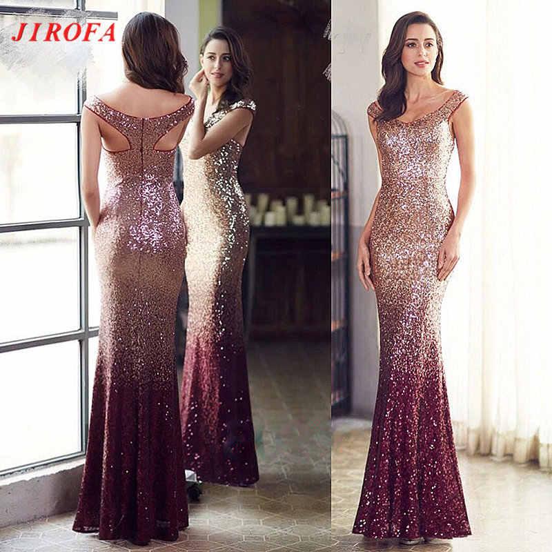 JIROFA Sequins Dress Women Vestidos Verano 2018 Maxi Dress Elegant Trumpet  Floor Length Party Prom Evening a4ba60928d6e