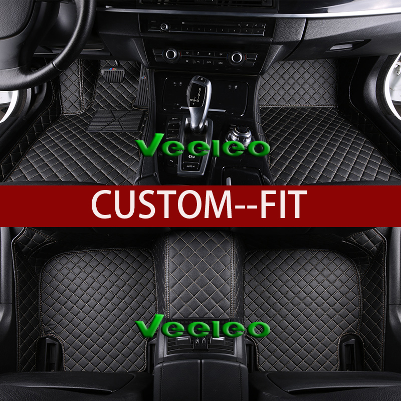 Veeleo Custom Fit 8 Colors Leather Car Floor Mats For