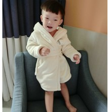 Children's clothing bathrobes robe flannel thermal lacing male female child parent-child outerwear plus velvet