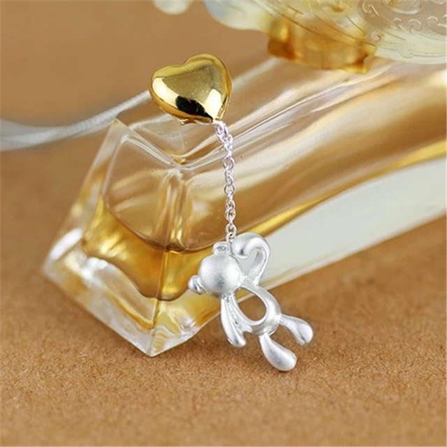 Exclusive! Love Heart Lovely Bear Pendant Perfect Gift To Girlfriend Genuine 925 Sterling Silver Jewelry colgante oso plata