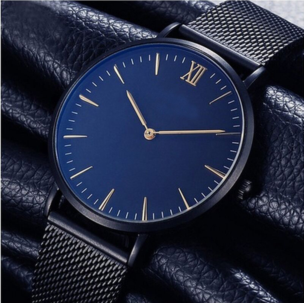 Drop shipping Blue Dial Watches men women lovers Clock Top Brand Luxury Stainless Steel Mesh Band Ultra Thin Watch Montre Femme стоимость