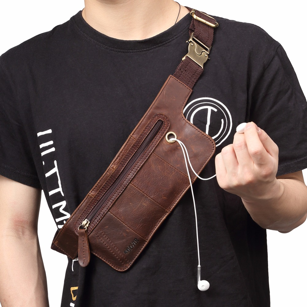 JOYIR Genuine Leather Men Waist Packs Vintage Zipper Waist Bag for Phone Pouch Travel Men Crossbody Chest Bag with Earphone Hole