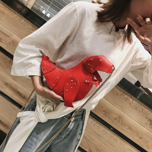 Pink Dinosaur Rivet Messenger Chain Shoulder Bag Sweet Cute Girl Pink Bag Handmade Small Quality Travel Bags