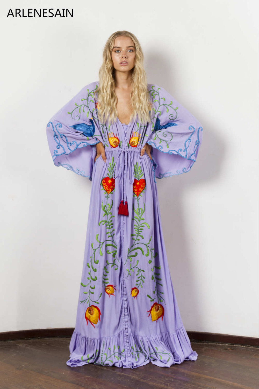 634f8d5936a Arlenesain custom 2018 Women Instagram Fashion Women s duster with cut work  vibrant embroidery Maxi Dress