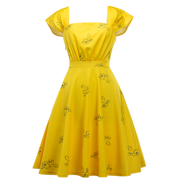 La La Land Same Style Square Collar Print Slim Swing Cocktail Party Dress Emma Stone Dresses