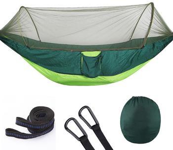 290x140cm 70D Nylon Taffeta Hammock Outdoor Camping Hanging Bed Family Garden Party Use