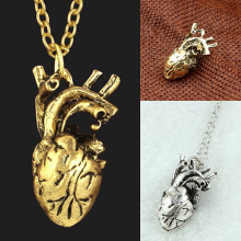 Men Retro 3D Anatomical Human Hollow Heart Pendant Necklace Punk Sweater Chain