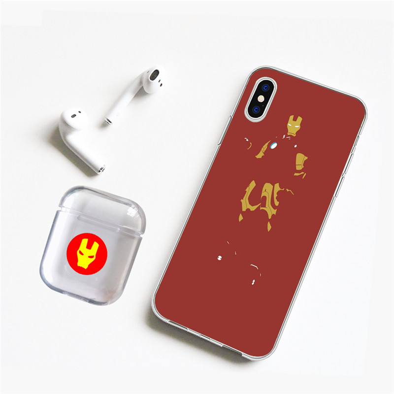 LAUGH LIFE Super Heroes Phone Case with Airpods For iPhone X XR XS Max Spider Iron Man Groot Cases 6 5 7 8 Plus
