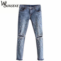 Knee Hole Ripped Jeans Women Stretch Denim Pencil Pants Casual Slim Fit Rivet Pearl Jeans Summer