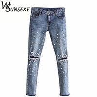 הברך חור Ripped ג 'ינס נשים למתוח מכנסיים ג' ינס עיפרון מקרית Slim Fit מסמרה פרל ג 'ינס הקיץ ארוך מכנסיים מותן נמוך קאובוי