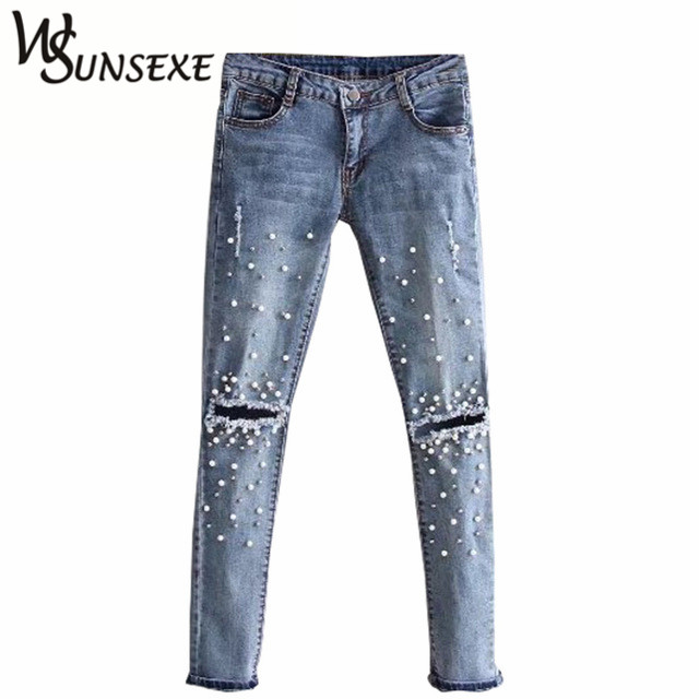 Колено отверстие Рваные джинсы Для женщин стрейч джинсовые узкие брюки Повседневное Slim Fit заклепки жемчуг Джинсы для женщин летние длинные Мотобрюки низкая талия ковбой