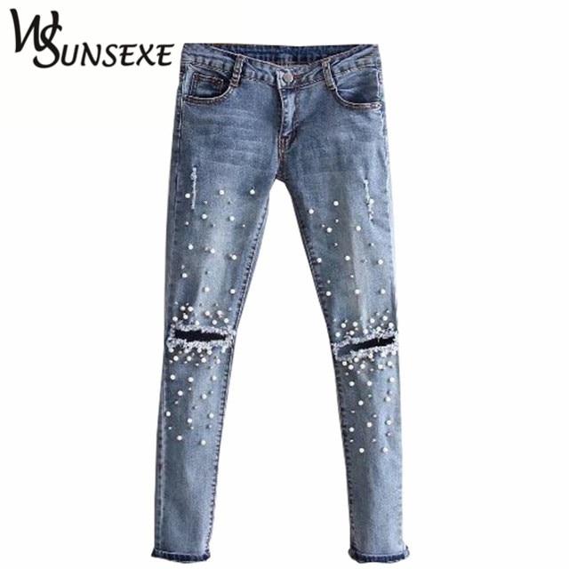 Knee Hole Ripped Jeans Women Stretch Denim Pencil Pants Casual Slim Fit Rivet Pearl Jeans Summer Long Trousers Low Waist Cowboy