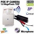 720 P mini câmera ip wifi câmera ip POE ONVIF P2P Mini pir câmera ip mini câmera ip poe estilo pir motion detector, frete grátis