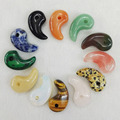 Wholesale 2016 fashion Good Quality Natural Stone Pendants charms Latest Cashew Comma Hook Jade for Jewelry making 20Pcs/Lot